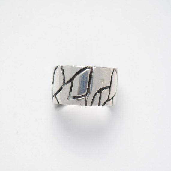 Silver ring - large ring - vintage ring - woman ring - big ring
