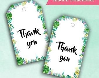 Bridal Shower Thank You Tags - Succulent / Cactus - Wedding Decor Instant Printable Digital Download - diy Baby Shower Printables Thank you