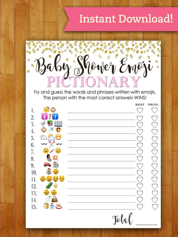 Baby Showers Without Games ~ Baby shower game pictionary emoji coral pink