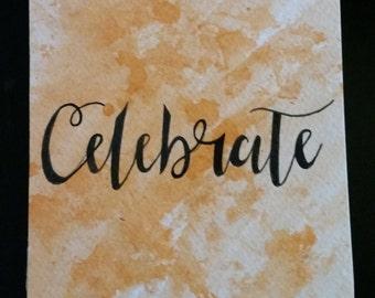 Celebrate - Inked Watercolour Card
