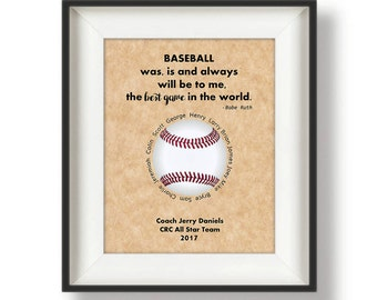 Baseball Coach Gift Ideas - Custom - Baseball Coach - Personalized Coaches Gifts - Coach Appreciation Gifts - 8 x 10 - Baseball Quote Print