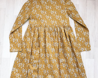 DAISY Handmade Liberty of London Print Long Sleeve Girls Dress with Pockets