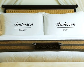 Personalized Couples Pillow Case Set - Classic - His and Hers - Couples Gift
