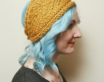 Mustard Yellow Knitted Winter Headband with Lace Style Detail