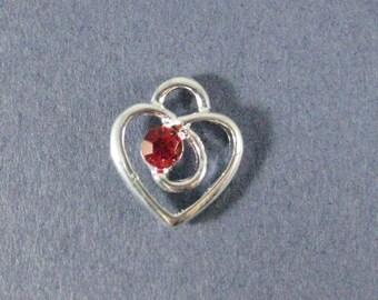 10 Rhinestone Heart Charms - Rhinestone Heart Pendants - Heart Charm - Heart Pendant - Love - Bright Silver - 13mm x 12mm -- (K1-12195)