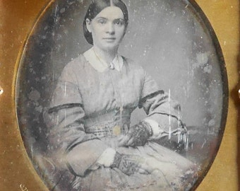 Antique Daguerreotype Photo, Victorian Woman with Gloves & Cameo by C.D. Fredricks, New York, 1/6th Plate