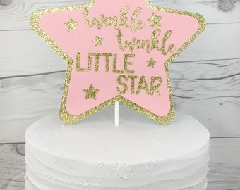 Pink and Gold One Cake Topper, Pink and Gold Birthday,Twinkle Twinkle Little Star Cake Topper, Twinkle Twinkle Little Star Party
