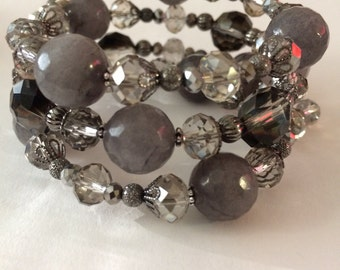 Grey & Crystal Wrap Bracelet, Crystal Beaded Bracelet, bridal jewelry, Wire Wrap Bracelet, gifts for her, crystal jewelry, Triple Bead Wrap