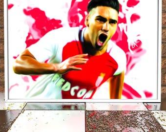 Radamel Falcao - Monaco FC - Falcao Illustration Poster Digital Print - Monaco - French Ligue 1
