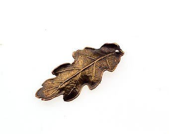 5 PCS Oak Leaf Charm Real Leaf Pendant Bronze Leaf Brass Leaf Copper Leaf Silver Leaf Celtic Unique Beads Craft Supplies Jewelry Findings