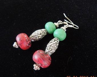 Boho Teal and Burgundy   Filigree Earrings
