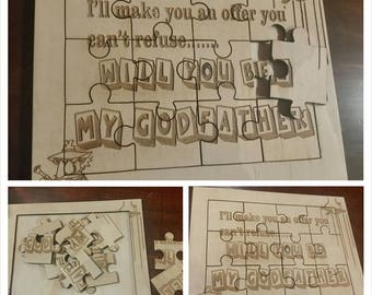 wooden puzzle,  Will you be my Godfather/Godmother jigsaw puzzle, personalised gift jigsaw puzzle for Godparents, laser cut puzzle