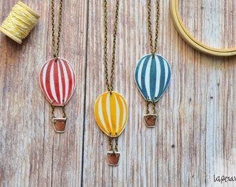 Hot air balloon necklace, long necklace, summer jewelry, shrink plastic necklace, plastic jewelry, red hot balloon, multicolor necklace