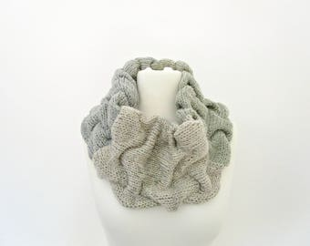Birthday gift for mum gift idea Circle knit scarf loop Ivory gray striped scarf Gray and ivory scarf Soft wool cowl Gray knit snood cowl