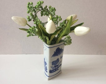 Three-sided blue and white Chinese porcelain flower vase