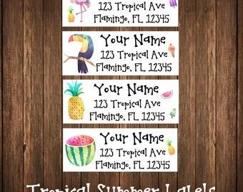 Tropical Summer Address Labels, Mailing Labels