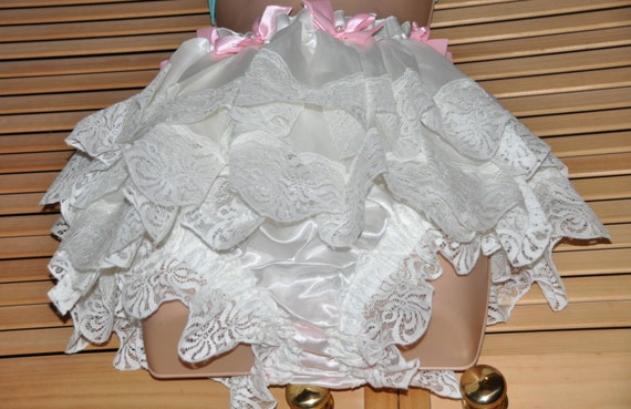 Dripping with lacy frills - satin femme panties, wonderful flouncy posing panties, Sissy lingerie