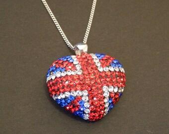 Crystal Union Jack Heart Pendant