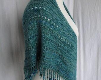 turquoise knit shawl, merino and silk wrap, beaded fringe shawl, handspun yarn wrap, luxury knit shawl, party/evening wear, silk mix wrap