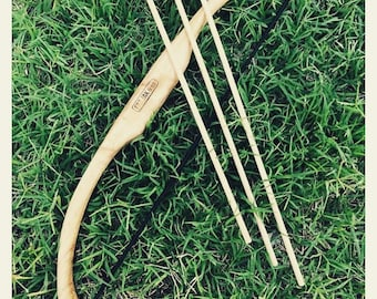 Handmade timber bow and 3 arrows