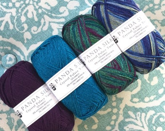 PANDA SILK 6.99 +.99ea Shipping Bamboo Wool Sock Yarn L-R Purple Magic 3043, Ocean 3036, Green Glade 5209, Citrus Berry 5217 MSRP 9.00