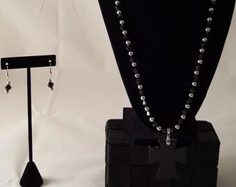 Black Cross Pendant Necklace - Black Jewelry Set - Black Cross Necklace - Black Necklace - Black Earrings - Black Jewelry - Black Pendant