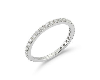 Band Ring with White Diamonds on the 3/4, French-set, 18k White Gold.