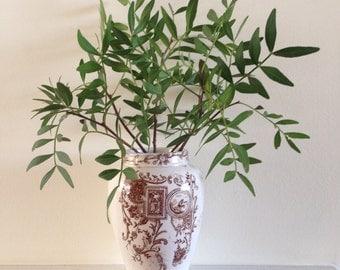 Vintage  Vase, Staffordshire Transferware,  Brown and White Vase, Decorative Vase, Flower Vase