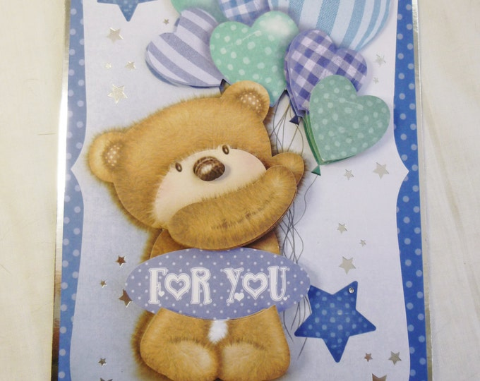 3D Decoupage Birthday Card, Greeting Card, Teddy Bear Holding Balloons, Blue and Silver, Boy, Any Age, Son, Nephew, Brother, Grandson