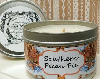 Southern Pecan Pie, Thanksgiving candle, southern, south, Thanksgiving, rustic candle,