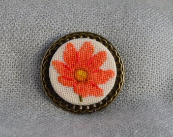 Flower brooch Tangerine jewelry Embroidered jewelry Cross stitch flower Handmade brooch Blaze brooch Gift for her Flower jewelry