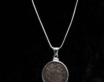 1864 Civil War Union Shield Two Cent Coin Necklace