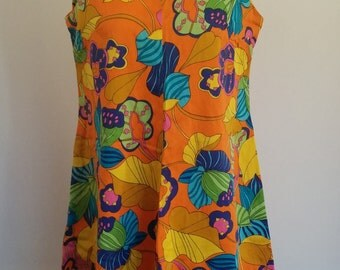Vintage Women's Colorful Retro 60's/70's Floral Sleeveless, Short Dress Size 10