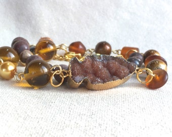 Bohemian Arrowhead Wrap Bracelet, druzy gemstone beaded choker necklace beaded boho jewelry tribal brown gold bead bracelet natural stone