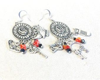 Orange is the New Black Inspired Earrings, OITNB chandelier earrings orange black prison charm jewelry Piper Chapman Red Lichfield Prison