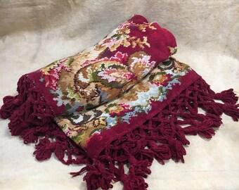 Antique Chenille Piano Cover RARE // Victorian Blanket Ornate Pattern Large 60 x 60