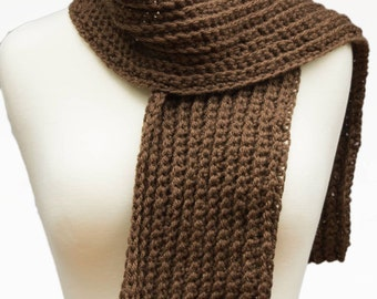 Brown Scarf, Long Chocolate Scarf or Neck Warmer, Crocheted Scarf, Thick Wool Winter Scarf, Gift For Him Under 25