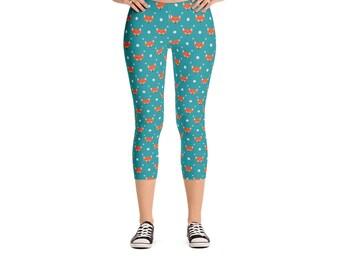 Teal Foxy Fox Leggings - Women's Active Wear Pants - Zen Fun Yoga Pants - Sizes XS to XL - Polyester/Spandex - Gift Idea for Her