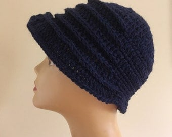 Navy Blue Flapper Hat