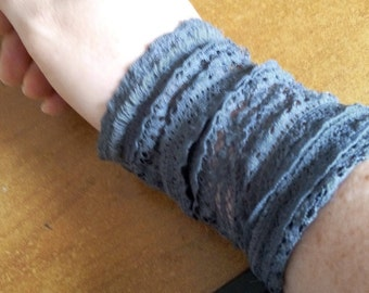 Synthetic antracite gray lace Cuff Bracelet