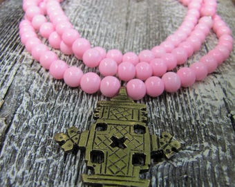 Pink Beaded Necklace / Statement Necklace / Gold Pendant Necklace