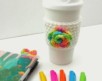White Crochet Cup Cozy: Coffee/Tea Sleeve with Rainbow Flower    [067]