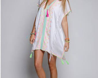 Bohemian White Tunic Kaftan with Fringe & Embroidery Details. Swim Cover Up. Boho Chic Resort Wear. Unique Gift Ideas.