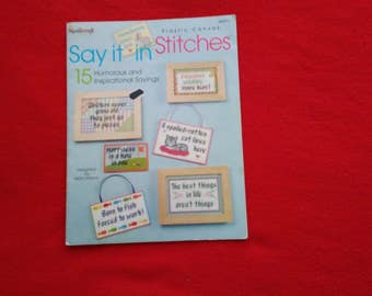 plastic canvas pattern book say it in stitches like new