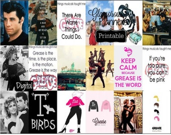 Big Happy Planner Grease Musical Stickers Pink Ladies T Birds Quote Stickers Printable  Happy Planner HP Stickers Grease Kit 50's Planner