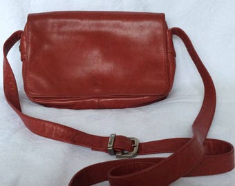 Vintage Enny red leather cross body bag