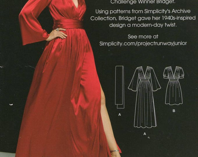 Simplicity 1006 0533 Free Us Ship Sewing Pattern 40's Inspired Project Runway Gown Dress Size 4/12 12/20 Plus Bust 29 30 31 32 34 36 38 40