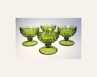Whitehall Pattern 4 Sherbet Glasses Avocado Green Colony Glass Vintage 1960s