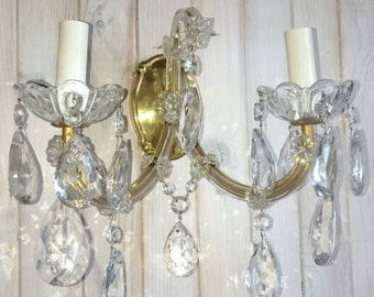 Lead Crystal Wall Chandelier Large Sconces, French Vintage Crystal Wall Lights, Paris Chic Sconces