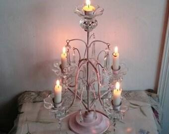 Vintage Pink Toleware Candelabra, Glass Crystal Drops Candleholder, Shabby French Pink Metal Candlestick,